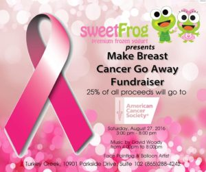 Make Breast Cancer Go Away Fundraiser at Sweet Frog Frozen Yogurt @ Sweet Frog | Knoxville | Tennessee | United States